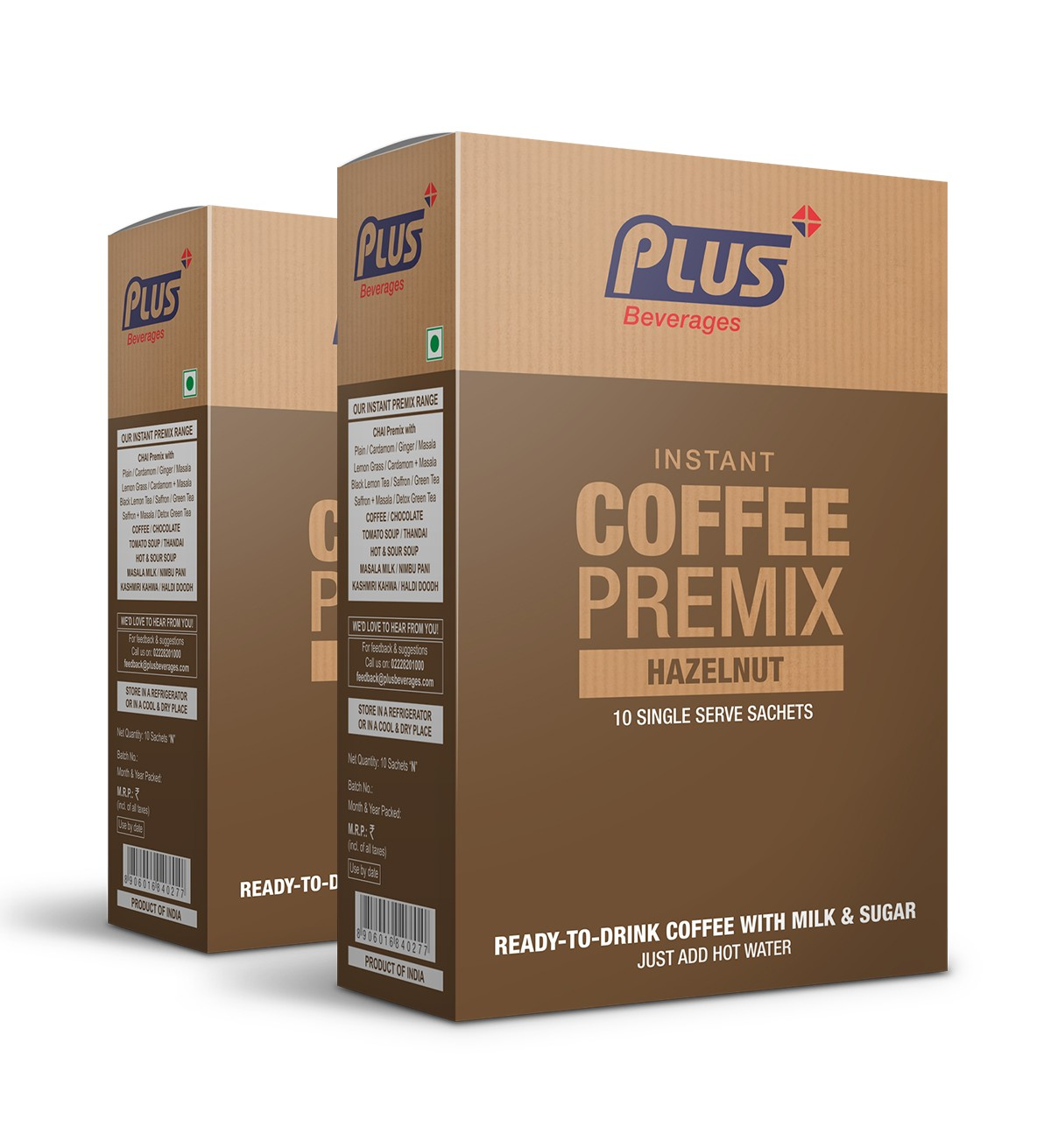Get Instant Hazel Nut Coffee Premix at best price - Free Shipping | Plus Beverages