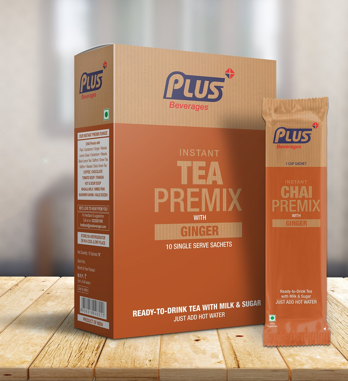 Get Instant Tea With Ginger Premix at best price - Free Shipping | Plus Beverages