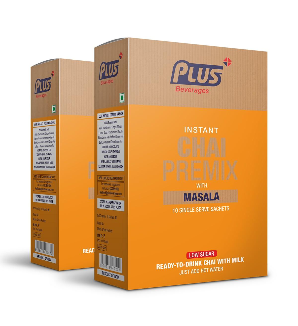 Get Instant Masala Tea Low Sugar Premix at best price - Free Shipping   Plus Beverages